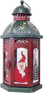 bestoyard Soporte de faroles Vintage Vela de Navidad con Papá Noel Distressed Farol Navidad mesa decorativa