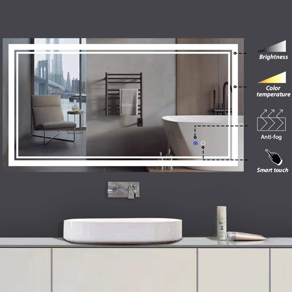 Wall Mounted Anti Fog /& Dimmer Touch Switch Mirror,Adjustable Yellow//Warm White//Daylight Lights Horizontal//Vertical keonjinn 40x 24 LED Bathroom Makeup Mirrors