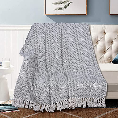 Boho Rustic Throw Blankets 100% Cotton Woven Knitted Soft and Cozy Room Decor Blanket for Sofa and Couch with Decorative Fringe - Pistachio Green - 50 x 60 Inches
