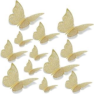 12 STKS 3D Gouden Vlinder Decoraties Muurstickers Metallic Art Sticker,DIY Ambachten Vlinders Muurstickers voor Huisdecora...