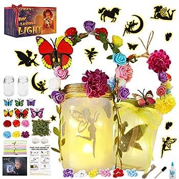 KIWEN Fairy Lantern Craft Kit for Girls and Boys Fairy Garden Kit,Lantern Light DIY Fairy Jar Night Lights Craft for Kids