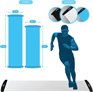 American Lifetime Slide Board - Workout Board for Fitness Training and Therapy with Shoe Booties and Carrying Bag Included - Black/White/Blue, 6/7.5 Feet