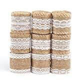 Naler 9 rollos de cinta de encaje de lazo, rollo de cinta de arpillera natural con encaje DIY hecho a mano para bodas y fiestas
