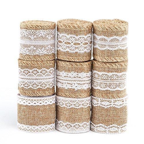 Naler 9 rollos de cinta de encaje de lino, cinta de arpillera natural rollos con encaje DIY hecho a mano boda fiesta manualidades