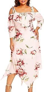 Women's Plus Size Dress Floral Print Off Shoulder Lace Ruffles Maxi Dresses