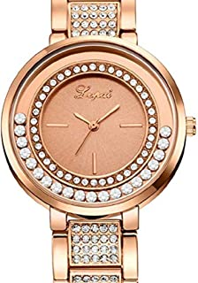 Womens Quartz Watches, Windoson Ladies Watches Crystal Rhinestones Can Move Female Watches Analog Stainless Steel Gift Watch (Rose Gold)