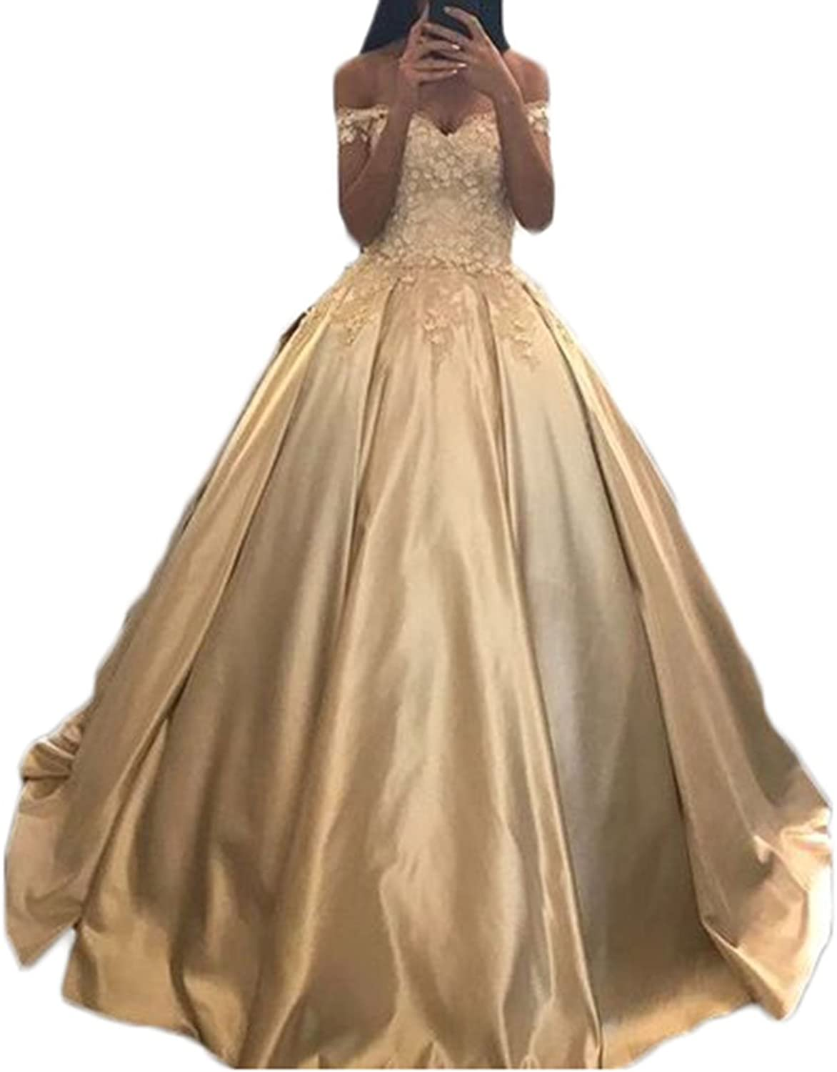 Alilith.Z 2018 Princess Champagne Quinceanera Dresses Sexy Off The Shoulder Flower Appliques Prom Dresses for Women Ball Gown