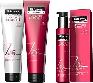 Tresemme Keratin 7 Day Smooth System: Shampoo, 9oz, Conditioner, 9oz, Heat Activated Treatment, 3oz (Bundle)