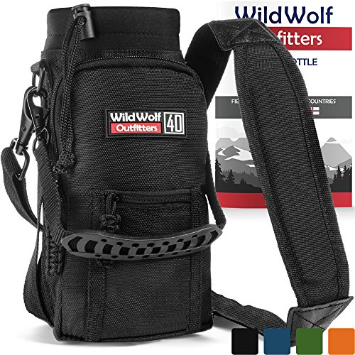 Wild Wolf Outfitters - Black Water Bottle Holder for 1,2L Bottles - Carry, Protect and Insulate Your Best Flask with This Military Grade Carrier w/ 2 Pockets and an Adjustable Padded Shoulder Strap.