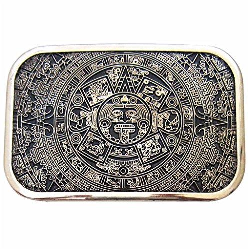 MASOP Retro Square Maya Solar Aztec Calendar Stone Belt Buckle Metal Alloy
