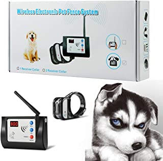 Blingbling Petsfun Electric Wireless Dog Fence System for Dogs, Pet Containment System for Dog and Pets with Waterproof and Rechargeable Training Collar Receiver Dog Boundary Container