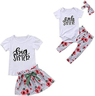 LucyGugo 2PCS Toddler Baby Girls Summer Outfits Big Sister T-Shirt + Floral Skirt with Bowknot Clothes Set