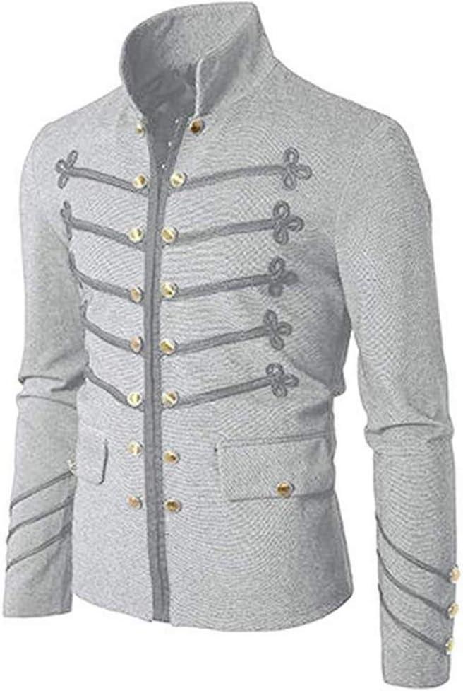 N/P and Comfortable Retro Solid Color Men's Jacket Coat Outerwear Rock Workwear Uniform Men's Retro Punk Metal Coat Coat