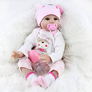 bromrefulgenc Reborn Baby Doll,Lifelike Realistic Newborn Baby,22inch Lifelike Newborn Silicone Reborn Gift Baby Doll Handmade Toy Dolls