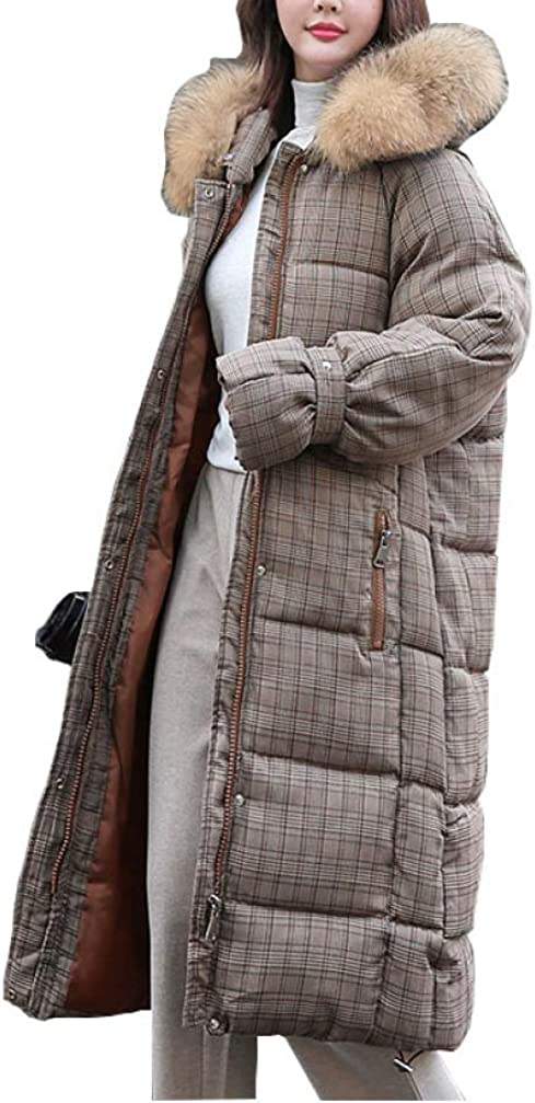 Chic Long Plaid Down Coat Hooded Heavy Oversize Thick Winter Warm Cotton Padded Wadded Big Pocket Down Jacket