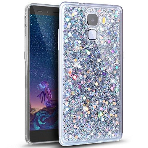 Kompatibel mit Huawei Honor 7 Hülle,Glänzend Bling Glitzer Diamant Muster TPU Silikon Handy Hülle Tasche Silikon Case Durchsichtig Handyhülle Etui Case Cover Schutzhülle für Huawei Honor 7,Silber