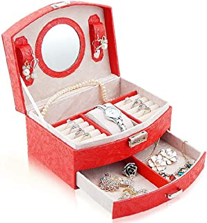 XX_C Jewellery Boxes & Organisers Jewelry Box Leather Travel Jewellery Organizer Case Jewelry Case for Rings, Necklaces, Bracelets, Earrings Woman's Best Gift (Color : Red)