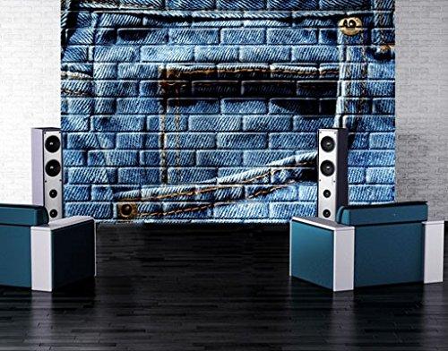 Selbstklebende Fototapete Jeanswall Tapete Jeans Blau Hose Stoff Muster, Größe:380cm x 576cm