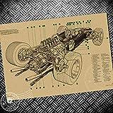 Vintage Poster F1 Rennwagen 3d Perspektive Retro Malerei