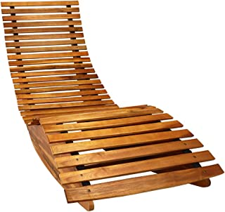 cucunu Chaise Lounge Outdoor in Weatherproof Acacia Wood for Patio, Pool or Spa I Rocking Sun Lounger Chair for Sunbathing...