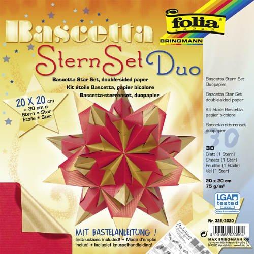 Faltblätter Bascetta Stern Duo, rot gold, 20x20, - CFO326-2020