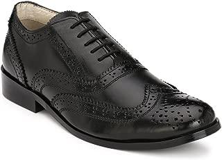 HiREL'S Men Pure Black Leather Brogue Formal Shoes