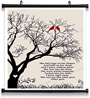 GEHUA06 Scarlet Begonias Song Lyrics Decor Gift Poster Print Lyric Quote Wall Art Canvas Home Artwork Decoration Framed 12X12in