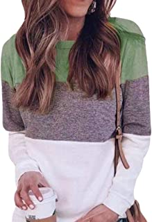 UUGYE Womens Long Sleeve Casual Blouse Pullover Colorblock Loose Fit Shirt Tops Green 4XL