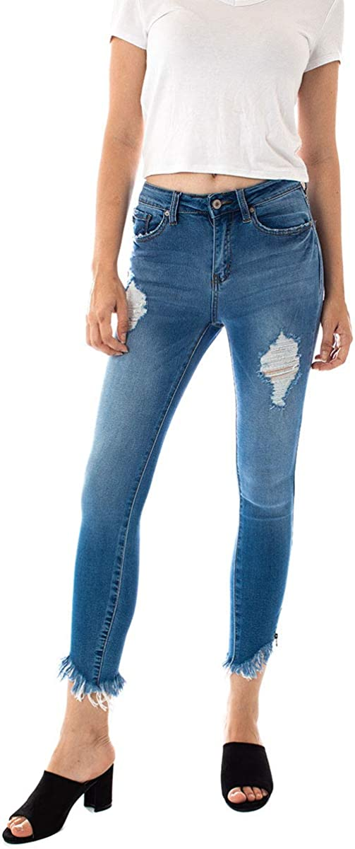 Kan Can Be super welcome Women's High Rise Hem Spring new work Ankle Skinny Frayed Jeans