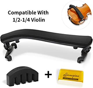 Violin Shoulder Rest for 1/2-1/4 size,Collapsible and Height Adjustable Feet,Violin universal Type Violin Parts soft easy to use,High strength sponge(Black),Including Violin Mute and Violin rosin