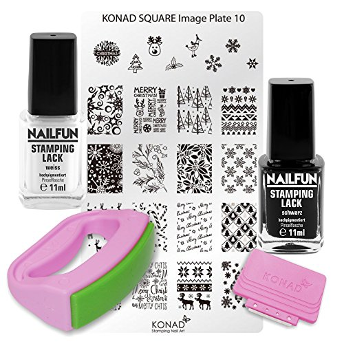 KONAD Fancy Stamping Set 10 inkl. Fancy Maxi Stempel + Scrapper + Square Schablone No. 10 Christmas Weihnachten + 11ml NAILFUN Stampinglack weiss + 11ml NAILFUN Stampig-Lack schwarz