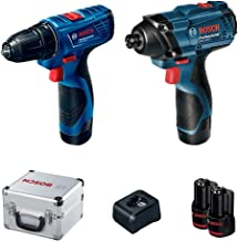 Combo 12V Bosch Chave de Impacto GDR 120-LI + Parafusadeira GSR 120-LI, 2 Baterias, Carregador BIVOLT, Kit de Acessórios e...