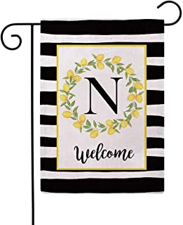 ULOVE LOVE YOURSELF Welcome Farmhouse Decorative Garden Flags with Letter N/Lemons Wreath Double Sided House Yard Patio Ou...
