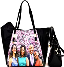 Michelle Obama Family Picture Print 3 in 1 Patent Tote Satchel Bag Wallet SET