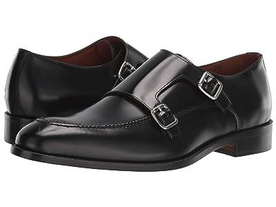 Massimo Matteo Veneto Double Monk (Black Veneto Leather) Men