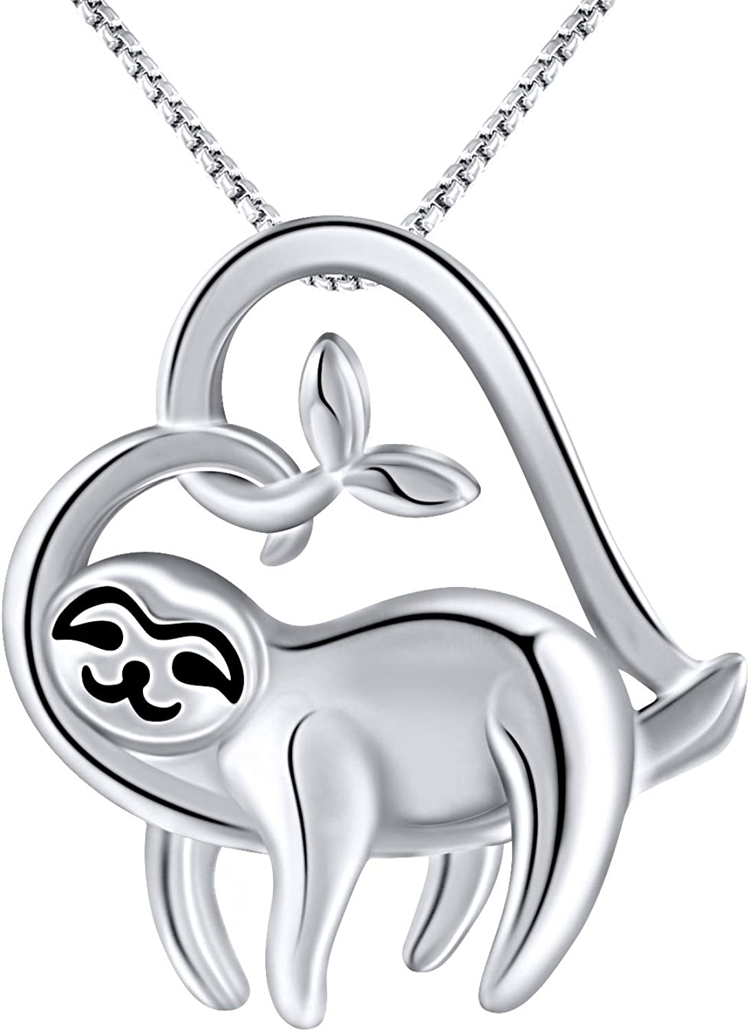 GRECIA White Gold Plated Sloth Necklace for Women Love Heart Pendant Gift for Her, Cute Sloth Jewelry Gifts for Girlfriend, Wife, Sister, Grandma, Mom