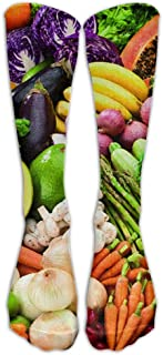 Vegetables Vegan Food Fruit Printed Men's/Women's Comfortable Casual Funny Long Knee High Socks Compression Socks Winter Warm Soccer Socks Calcetines largos