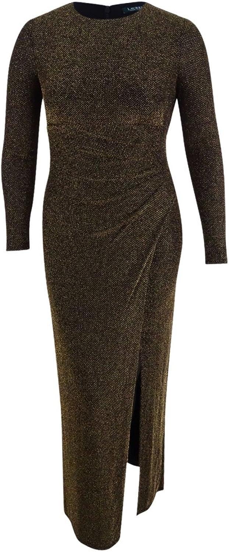 Lauren Ralph Lauren Womens Maavi Metallic FauxWrap Evening Dress