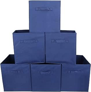 EZOWare Set of 6 Foldable Fabric Basket Bin Collapsible Storage Cube for Nursery, Toys Organizer, Shelf Cabinet (Blue)