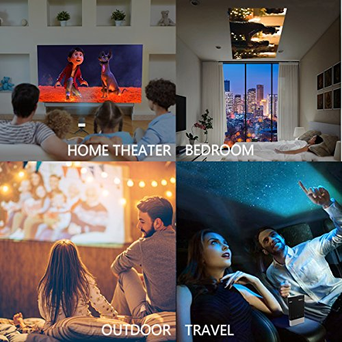 Mini Projector, Vamvo Ultra Mini Portable Projector 1080p Supported HD DLP LED Rechargeable Pico Projector with HDMI, USB, TF, and Micro SD Supports iPhone Android Laptop PC Projectors for Outdoor