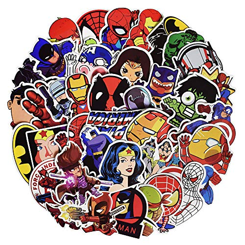 Waterproof Vinyl Stickers for Laptop Water Bottles Hydro Flask Motorcycle Bicycle Skateboard Luggage Car Bumper Guitar Decals (100 Pcs Super Hero Style Stickers)