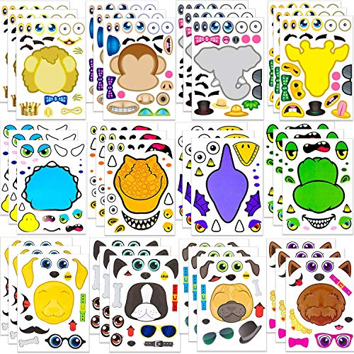 OuMuaMua 36 Pack Make-a-face Animal Sticker Sheets - Fun Kid Animal Party Favor Supplies Crafts, Make Your Own Animal Mix and Match Sticker Sheets with Safari Animals, Dogs and Dinosaurs