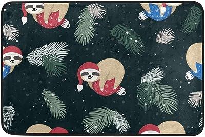Mydaily Christmas Hat Sloth Doormat 15.7 x 23.6 inch, Living Room Bedroom Kitchen Bathroom Decorative Lightweight Foam Printed Rug