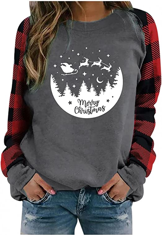Christmas Shirts for Women Long Sleeve Pullover Tops Xmas Gnomes Reindeer Graphic Plaid Splicing Lightweight Sweatshirts