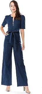 Denim Jeans Jumpsuit for Women - Elastic Comfortable Stylish Dark Wash Denim Jean Rompers