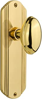 """Nostalgic Warehouse Deco Plate with Homestead Door Knob, Privacy - 2.75"""", Unlacquered Brass"""