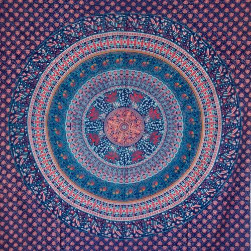MOMOMUS Tapiz de Mandala - Hecho a Mano con Algodón 100% y Tintes Vegetales Naturales - Adornos de Arte para Pared de Hogar, Pareo/Toalla de Playa Grande, Sofá (Azul-Turquesa, 210x230 cm)