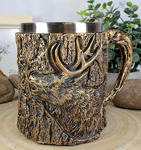 Ebros Animal Spirit Rustic Wildlife North American Trophy Elk Deer Mug With Tree Bark Textured Surface Design In Painted Bronze Finish 12oz Drink Beer Stein Tankard Coffee Cup