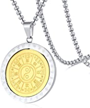 PJ Jewelry Two-Tone Mens Stainless Steel Tai Chi Yin Yang Spinner Pendant Bagua Eight Diagram Talisman Necklace