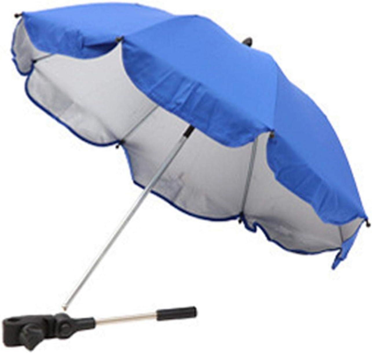 UXELY Push Chair Umbrella, Beach Chair Umbrella, Baby Stroller Clip-On Umbrella Detachable Stroller Umbrella Sun Shade Flexible Arm Manual Open UV Protection Pushchair Umbrella(Sapphire Blue)
